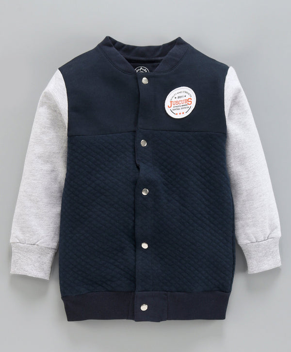 Jus Cubs Solid Full Sleeves Jacket - Navy Blue