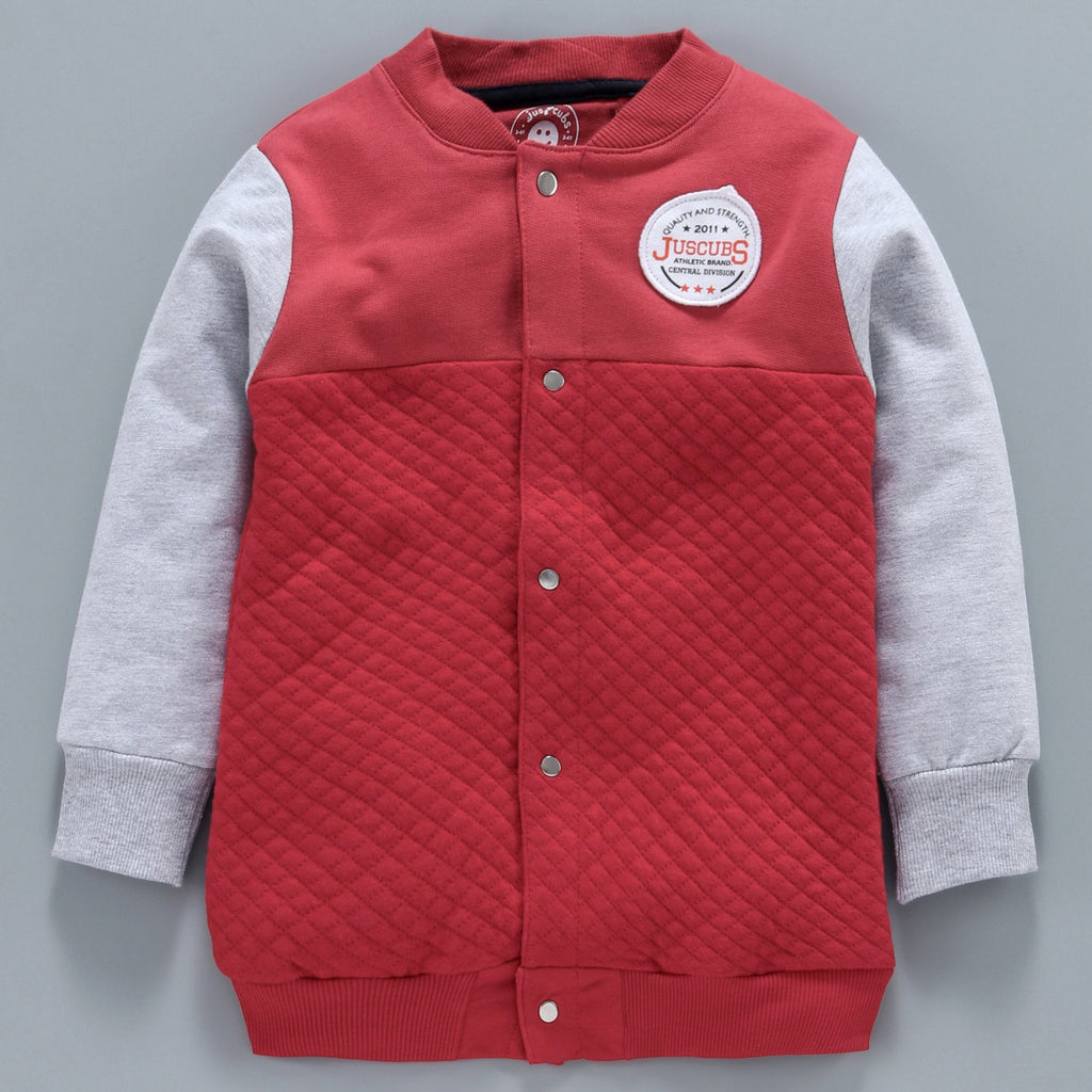 Jus Cubs Solid Full Sleeves Jacket - Red