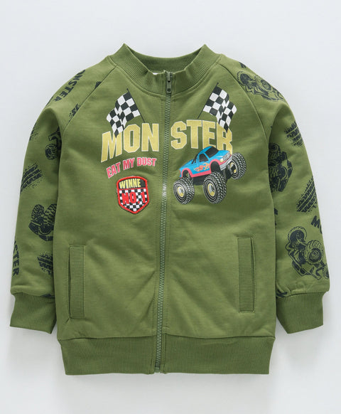 Jus Cubs Monster Print Full Sleeves Jacket - Olive