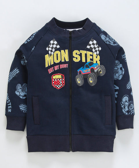 Jus Cubs Monster Print Full Sleeves Jacket - Navy Blue