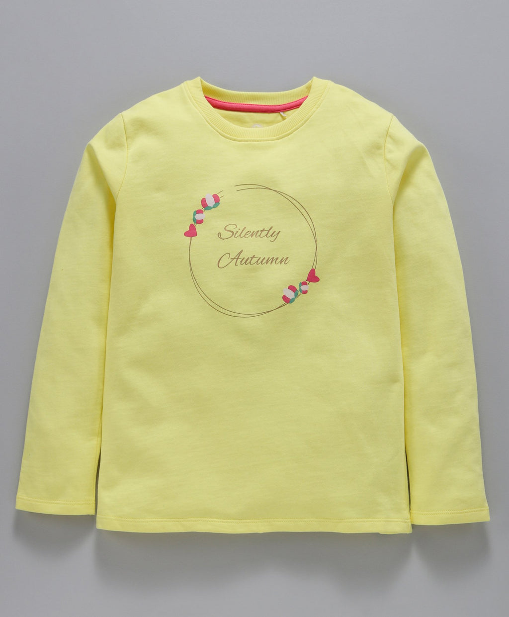 Jus Cubs Floral Print Full Sleeves T-Shirt - Yellow