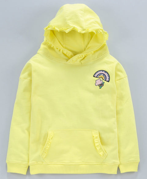 Jus Cubs Girls Hoodie Embroidery  Full Sleeves T-Shirt - Yellow