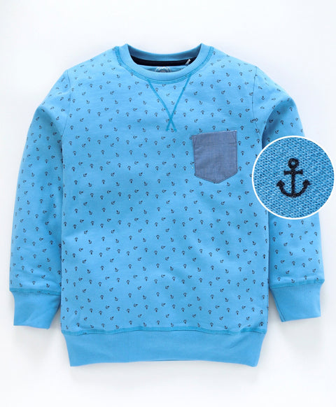 Jus Cubs Anchor Print Full Sleeves Sweatshirt - Blue