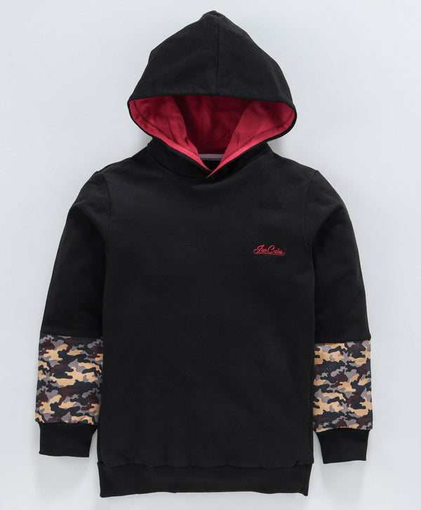Jus Cubs Camouflage Print Full Sleeves Hoodie - Black