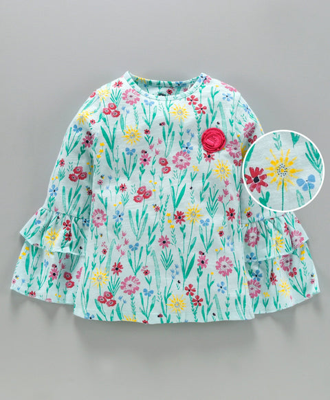 Jus Cubs Girls AOP Bell Sleeve Top