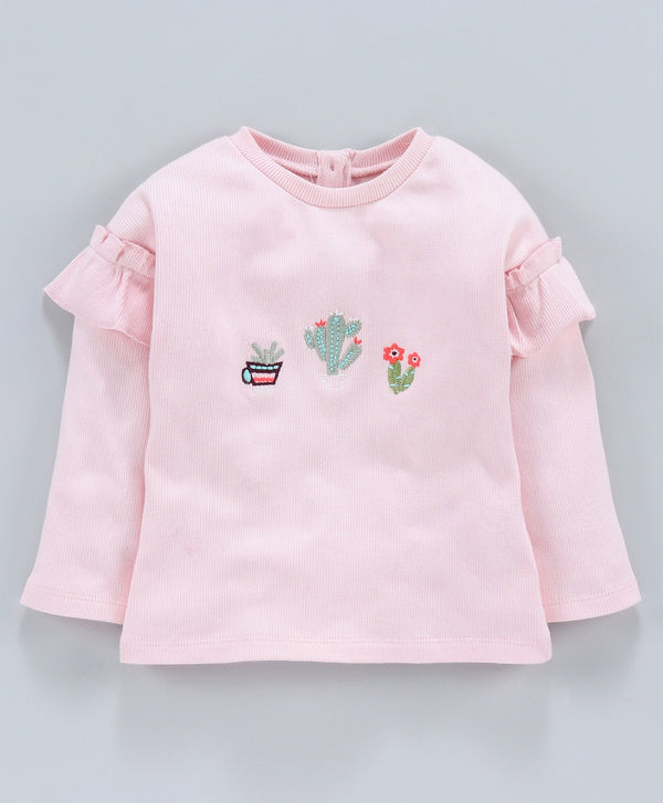 Jus Cubs Girls Embroidery Work Pink-Top