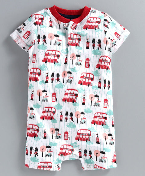JusCubs Half Sleeves London Bus Printed Romper - White