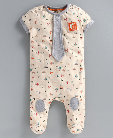 JusCubs Full Sleeves Vehicle Print Detailing Sleep Suit - Beige