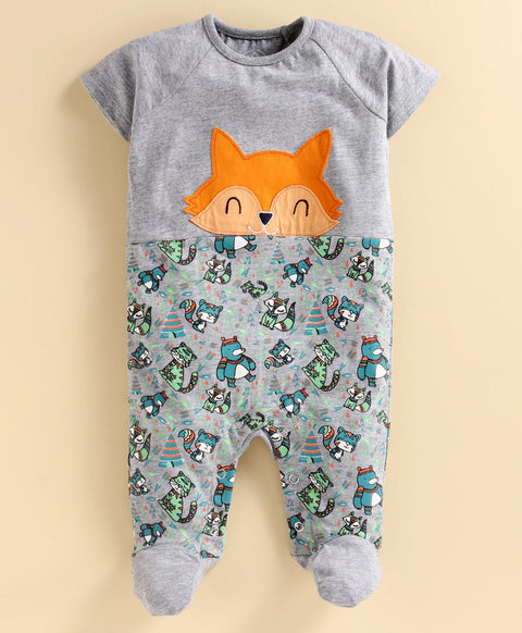 JusCubs Boys Grey Melange Printed SleepSuit