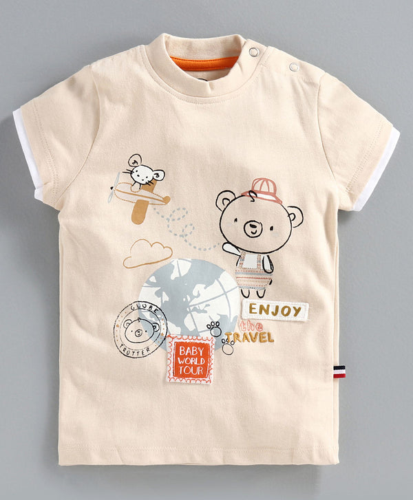 JusCubs Half Sleeves Teddy Bear Printed Tee - Beige