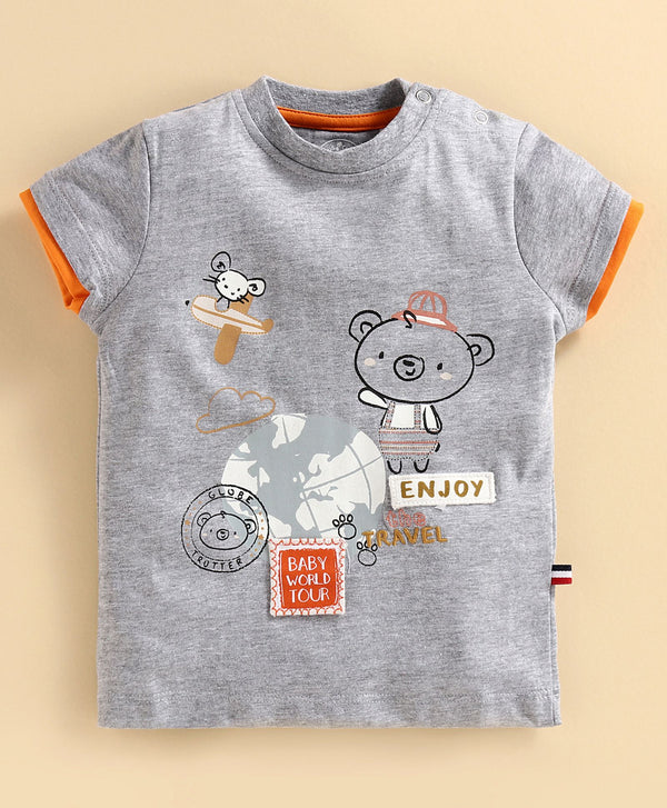 JusCubs Half Sleeves Teddy Bear Printed Tee - Grey