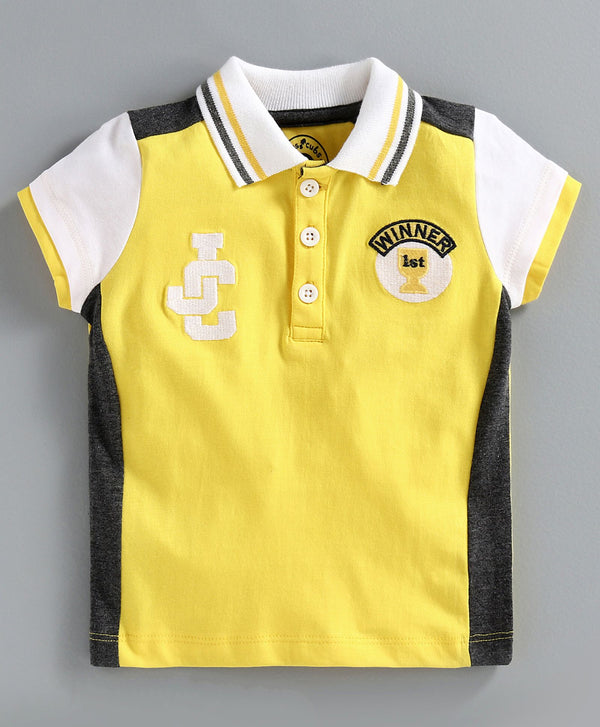 JusCubs Half Sleeves Logo Embroidery Detailing Polo Tee - Yellow