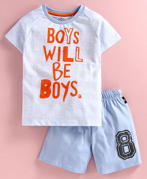 JusCubs Raglan Half Sleeves Boys Will Be Boys Printed Tee - Light Blue