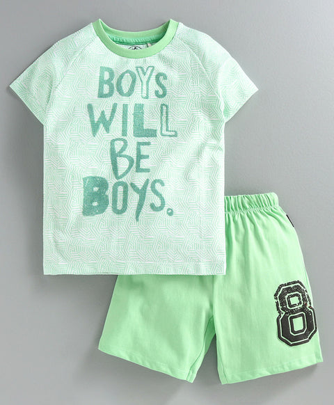 JusCubs Raglan Half Sleeves Boys Will Be Boys Printed Tee - Light Green