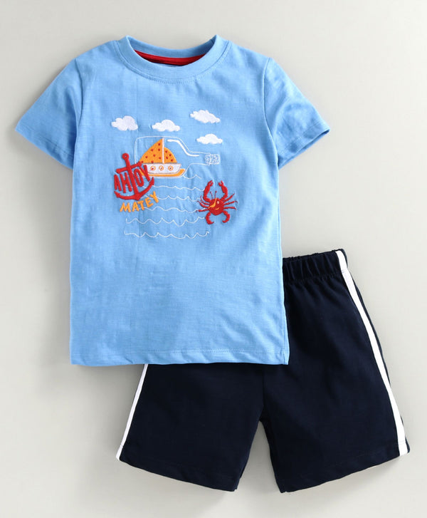 JusCubs Half Sleeves Crab Embroidery Detailing Tee & Shorts Set - Light Blue