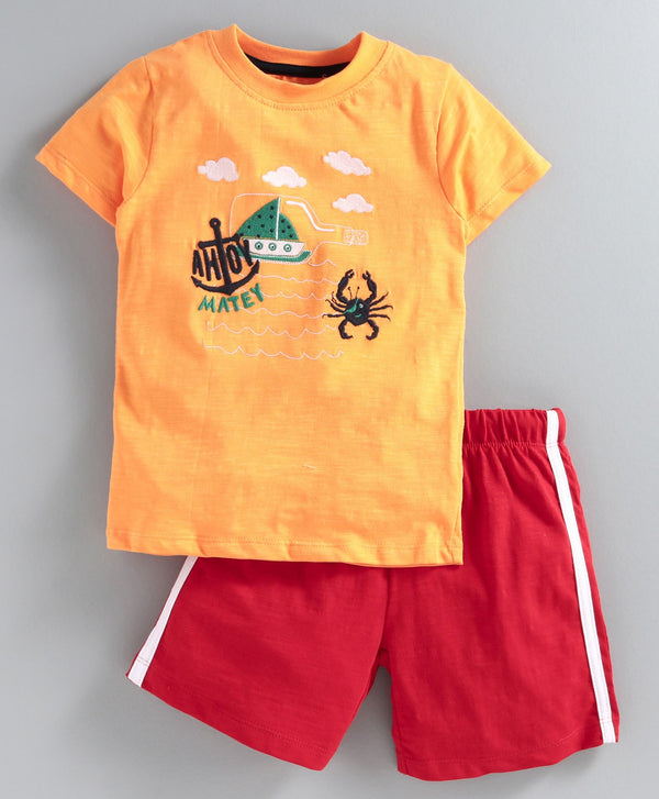 JusCubs Half Sleeves Crab Embroidery Detailing Tee & Shorts Set - Orange