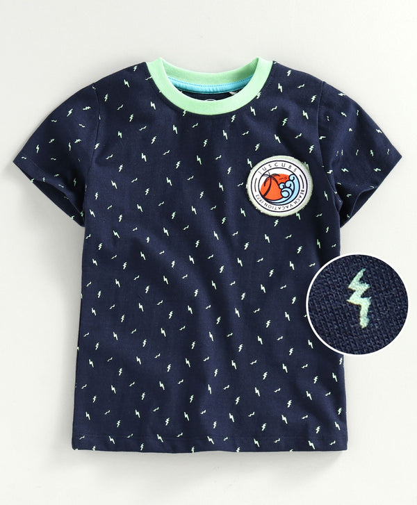 JusCubs Half Sleeves Thundering Print T-Shirt - Navy Blue