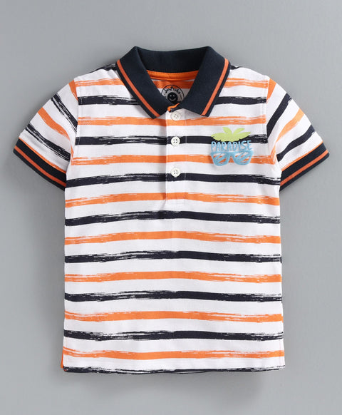 JusCubs Half Sleeves Striped T-Shirt - Orange