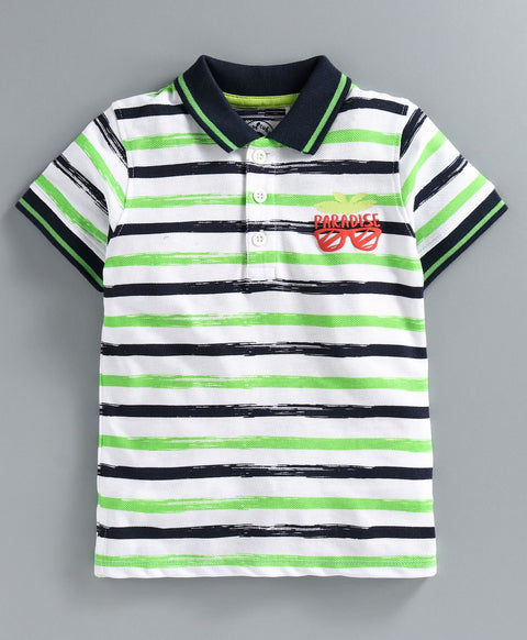 JusCubs Half Sleeves Striped T-Shirt - Green