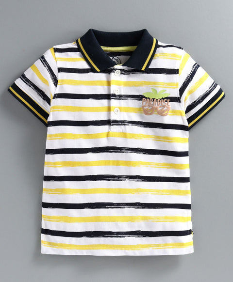 JusCubs Half Sleeves Striped T-Shirt - Yellow