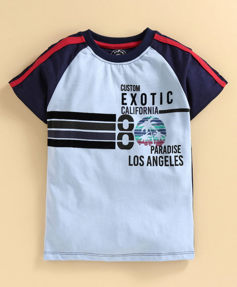 JusCubs Half Sleeves Los Angeles Print T-Shirt - Blue
