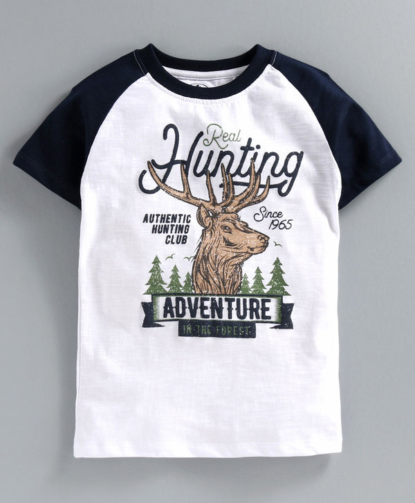 JusCubs Half Sleeves Hunting Adventure Print T-Shirt - White & Blue