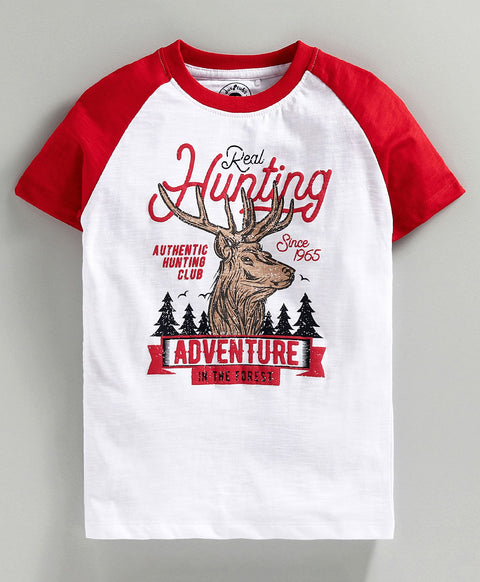 JusCubs Half Sleeves Hunting Adventure Print T-Shirt - White & Red