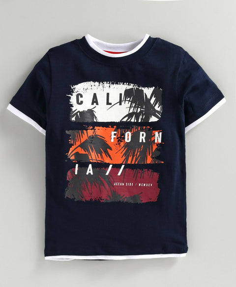 JusCubs Half Sleeves California Print T-Shirt - Navy Blue