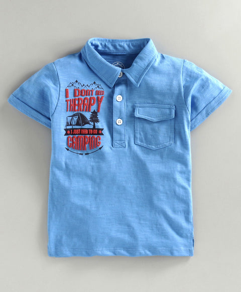 JusCubs Blue Camping Boys Polo T-shirt