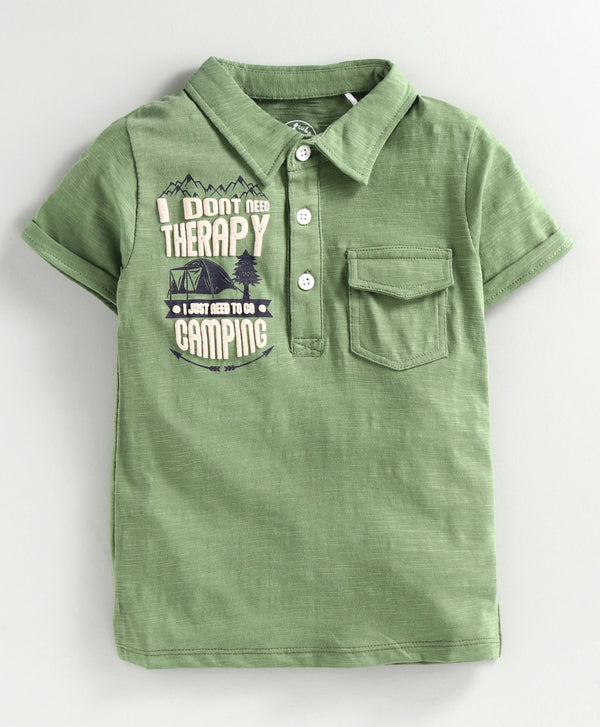 JusCubs Green Camping Boys Polo T-Shirt