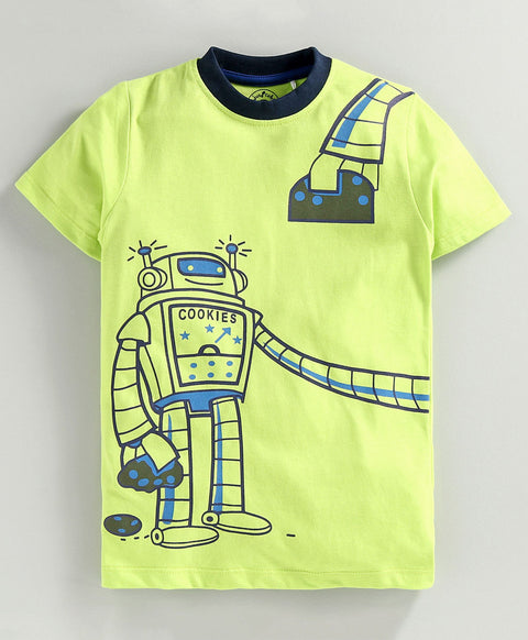 JusCubs Half Sleeves Robot Print T-Shirt - Green