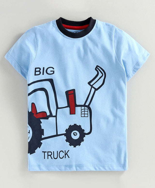 JusCubs Half Sleeves Big Truck Print T-Shirt - Blue