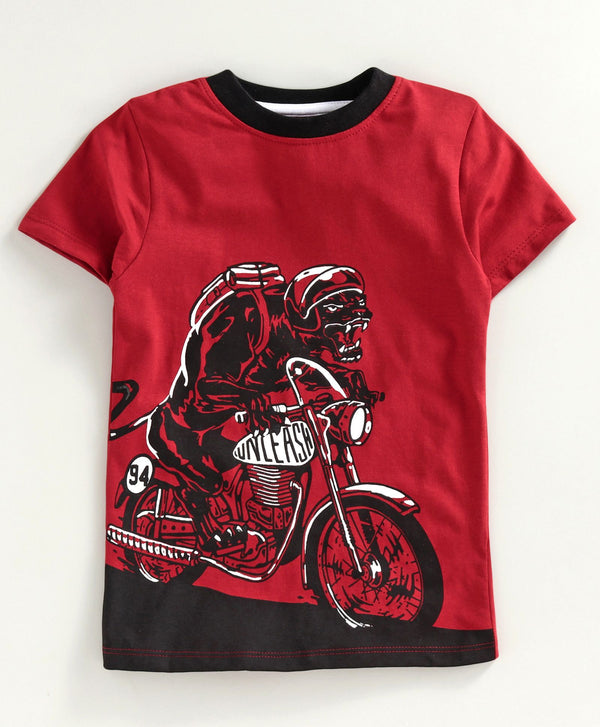 JusCubs Half Sleeves Bike Rider Print T-Shirt - Red