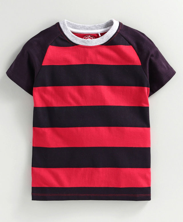 JusCubs Half Sleeves Striped T-Shirt - Red