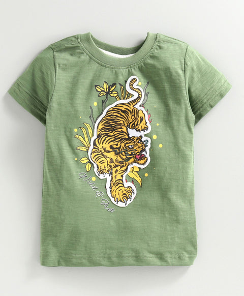 JusCubs Short Sleeves Tiger Patch Tee - Green