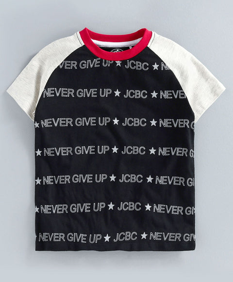 JusCubs Never Give Up Half Sleeve Boys T-Shirt
