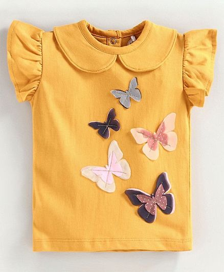 JusCubs Butterfly Embellished Short Sleeves Top - Mustard
