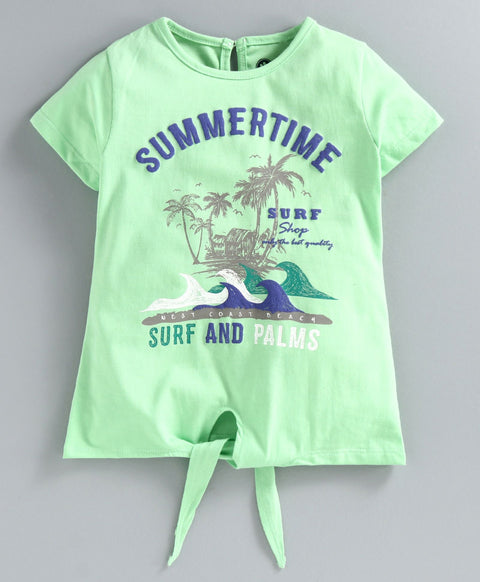 JusCubs Half Sleeves Summer Time Knot Tee - Green