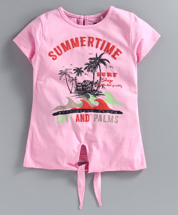 JusCubs Half Sleeves Summer Time Knot Tee - Pink