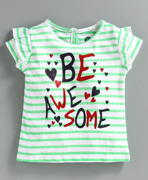 JusCubs Short Sleeves Be Awesome Top - Green