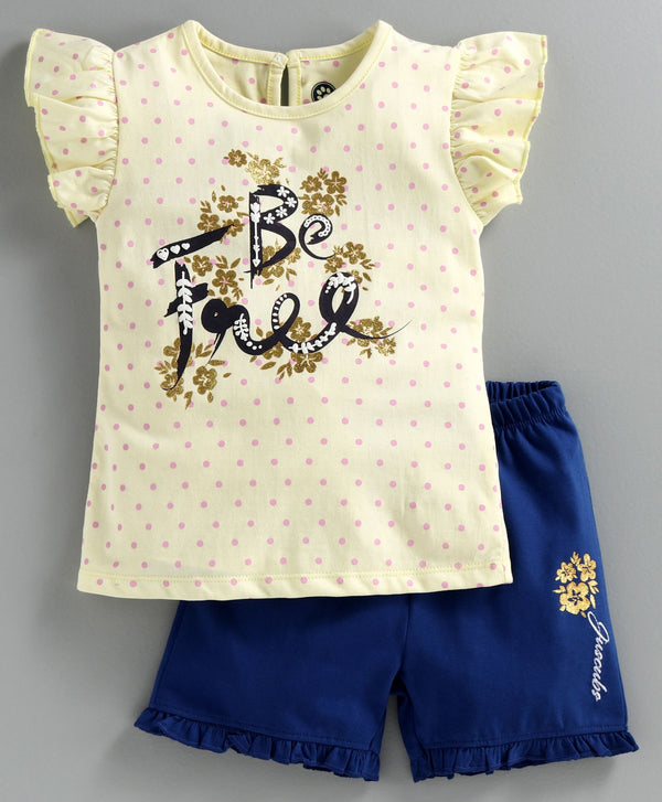JusCubs Short Sleeves Polka Dot Print Top With Shorts Set - Yellow & Blue