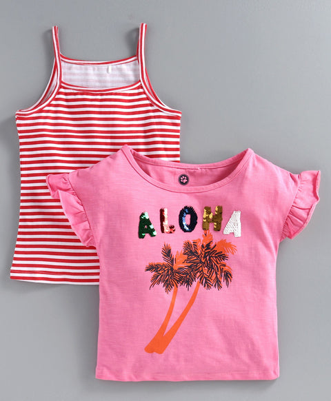 JusCubs Pack Of 2 Short Sleeves Aloha Sequined Top With Spaghetti - Pink