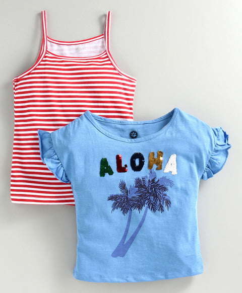 JusCubs Pack Of 2 Short Sleeves Aloha Sequined Top With Spaghetti - Blue & Red