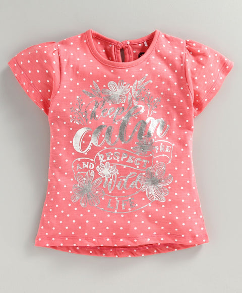 JusCubs Short Sleeves Keep Calm Print Top - Peach