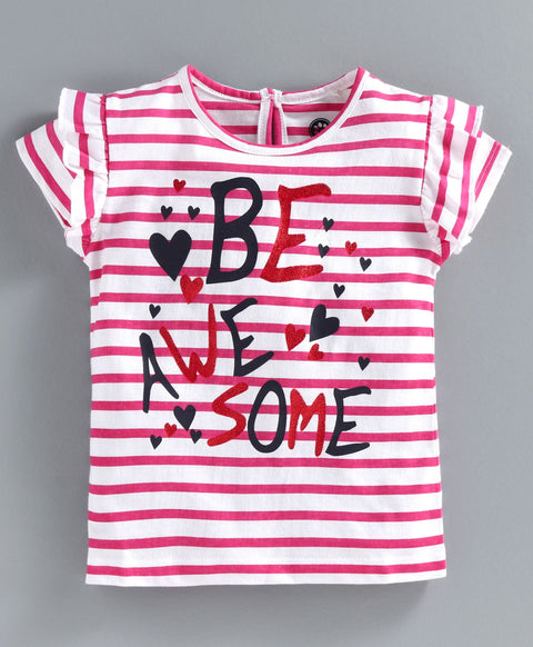 JusCubs Striped Short Sleeves Be Awesome Top - Pink