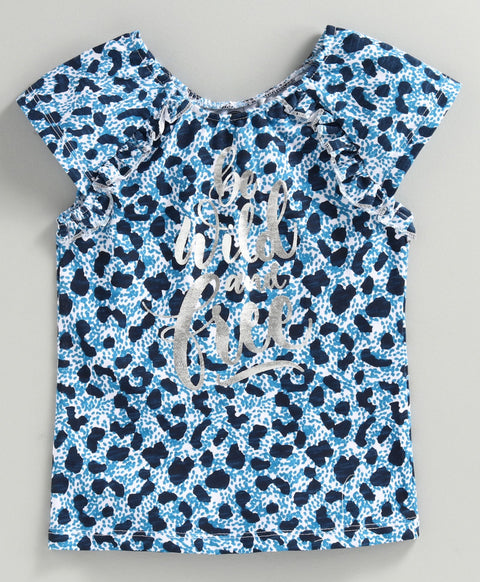 JusCubs Short Sleeves Leopard Printed Top - Blue