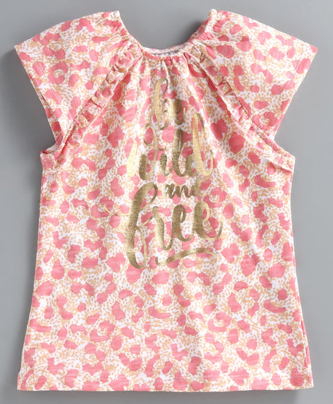 JusCubs Short Sleeves Leopard Printed Top - Light Pink
