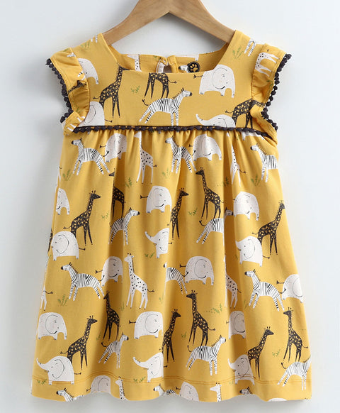 JusCubs Short Sleeves Animal Print Dress - Yellow