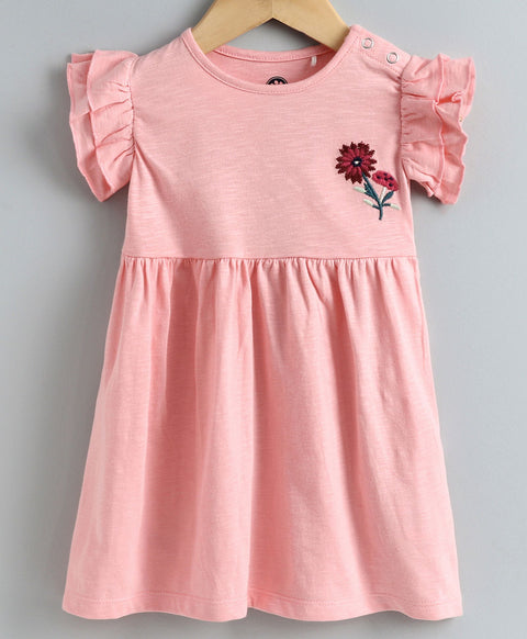 JusCubs Cap Sleeves Flower Embroidery Detailing Dress - Light Pink