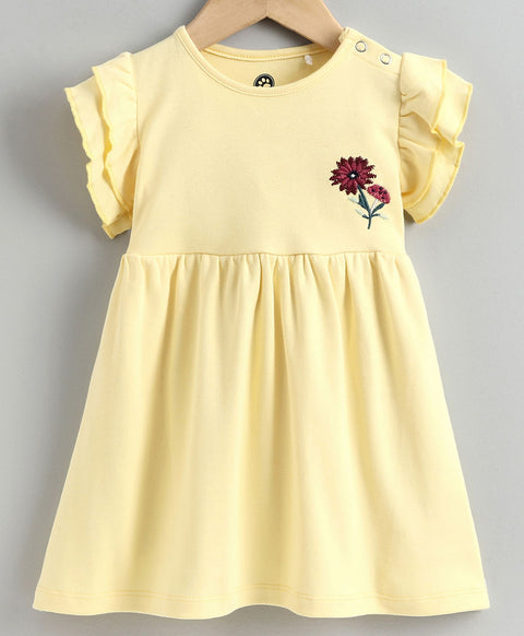 JusCubs Cap Sleeves Flower Embroidery Detailing Dress - Yellow
